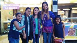 Mehar ma'm and her daughters with Sarah and I at dinner