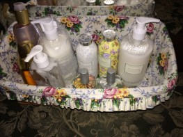 My perfumes and powders reside on my dresser in this basket.