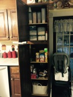 Pantry One--Staples like rice, flour, sugar. The basket in the bottom holds snack foods