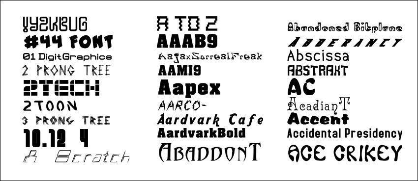 Fonts web desktop publishing presentation card making