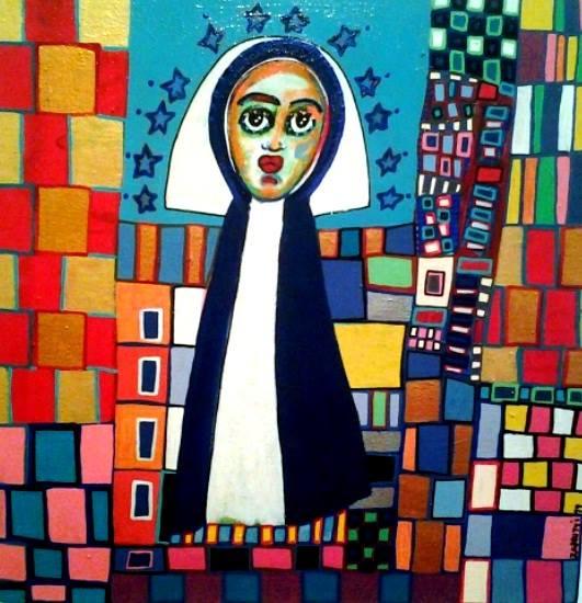 Sor María Jesús de Agreda Acrílico  40cm x 40cm.