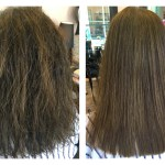 to show a keratin treatment before and after frizzy dry brittle hair