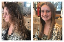 Chases before and after shot of her keratin treatment