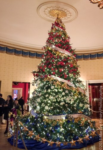 The Red, White, and Blue tree in the Blue Room. It is dedicated to our Nation's service members, veterans, and their families.