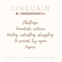 Colleen Chesebro's Weekly Poetry Challenge #Cinquain #Poetry #5lines
