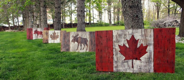 Barn Board Canadian Flags