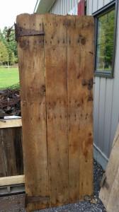 White wash barn door table