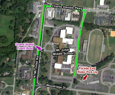 Overview of the parade ending and participant pick-up location at Mt. Juliet Middle School.
