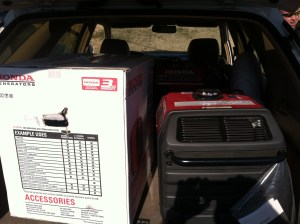 Stolen Honda generators in the back of Quintanilla's vehicle.