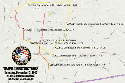 Overview of all Traffic Restrictions on Saturday, December 5, 2015