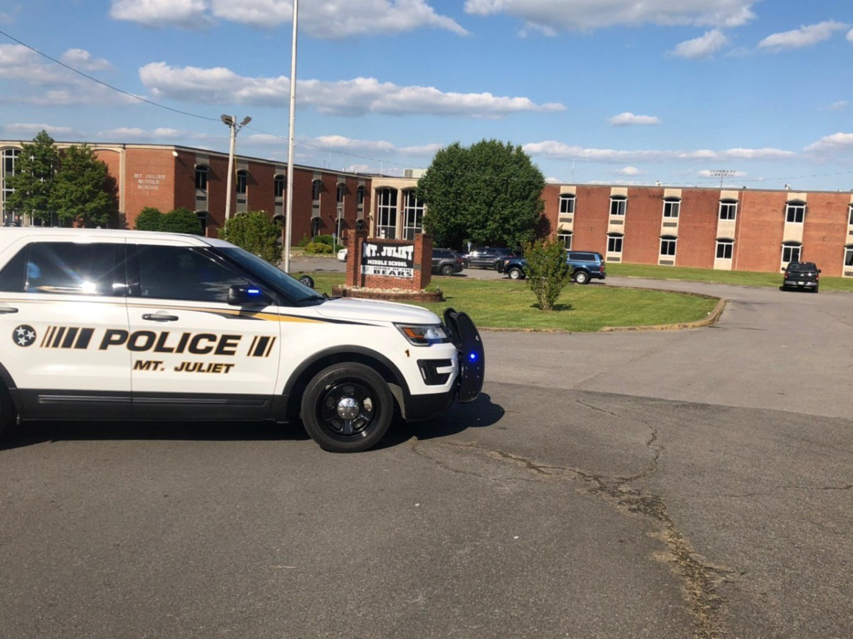 Photo of police vehicle in front of Mt. Juliet Middle School