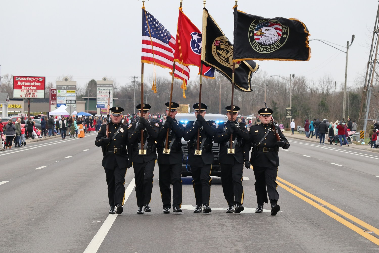 Honor Guard Leading the Mt. Juliet Christmas Parade