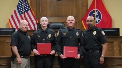 Group photo of Dep. Chief Mullins, Officer Messick, Officer Kamer, and Chief Hambrick