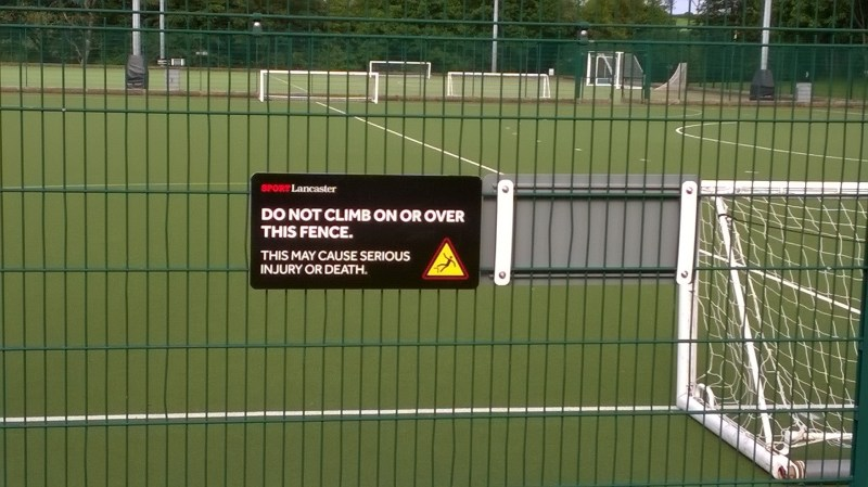 Sport Lancaster warning sign, June 2017