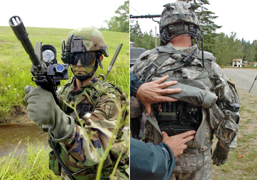 Augmented soldiers. Picture: Ric Feld/AP//The News Tribune, Peter Haley/AP