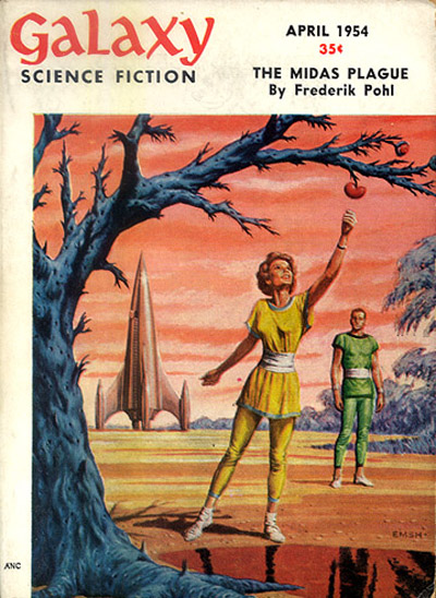 Cover of Galaxy Magazine, featuring 'The Midas Plague' by Frederik Pohl.