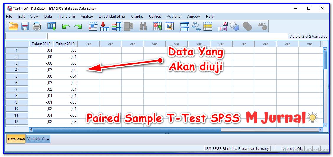 Data uji beda menggunakan SPSS