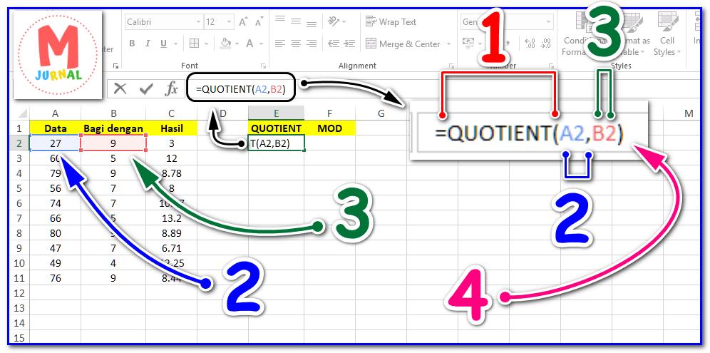 Cara mengetahui sisa hasil pembagian dengan fungsi QUOTIENT dan MOD