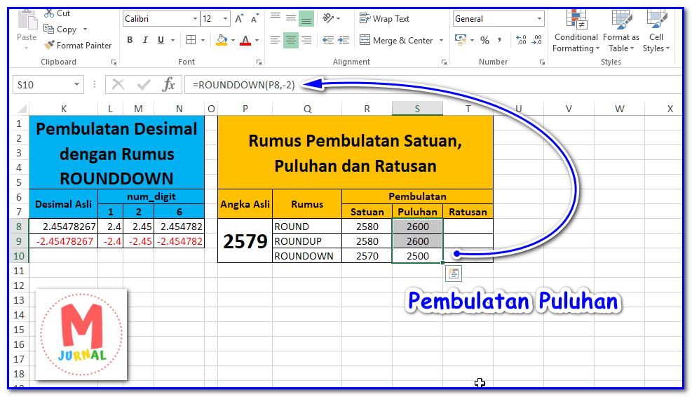 Rumus Pembulatan Angka Puluhan Excel