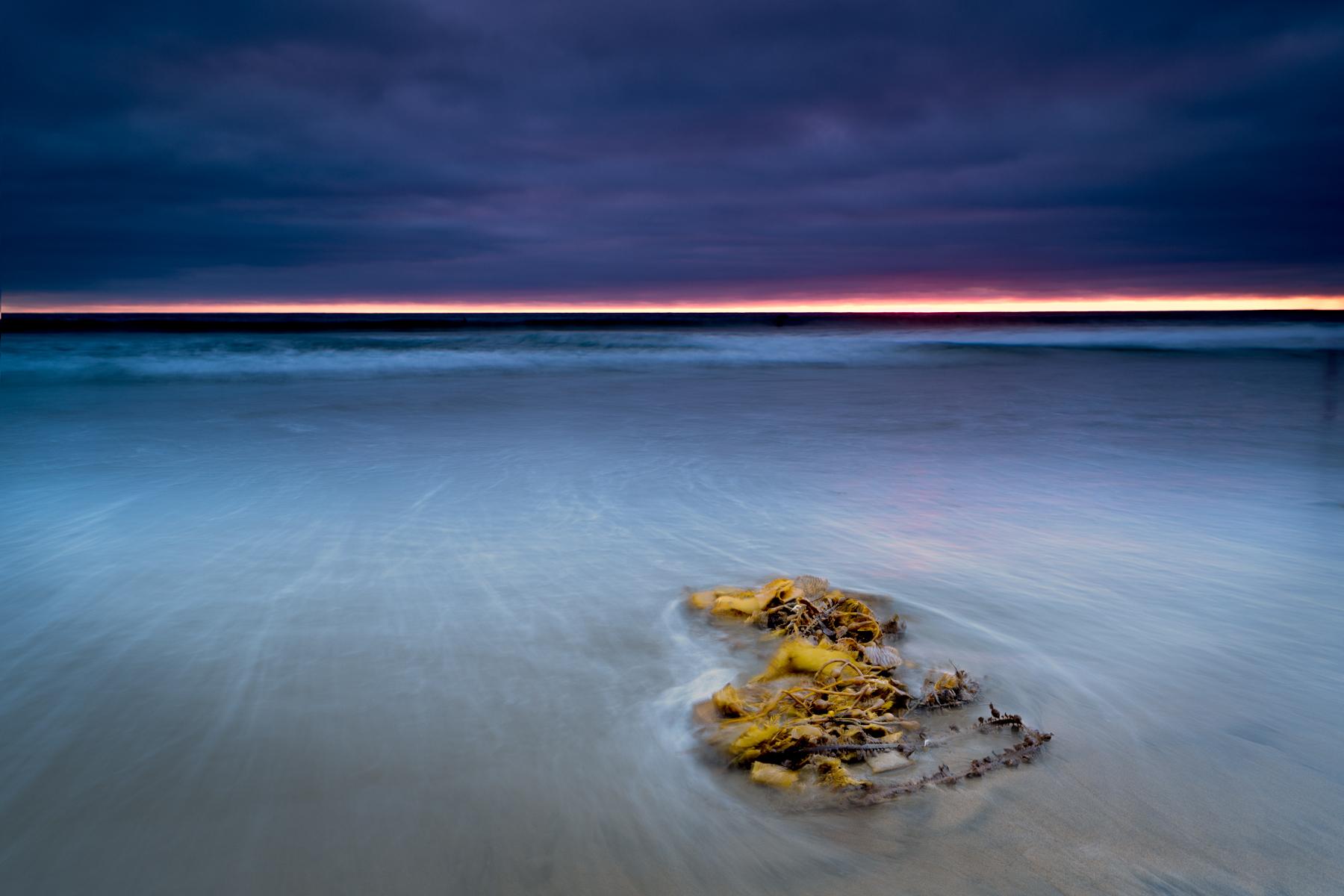 photo sunset moonlight beach blue yellow