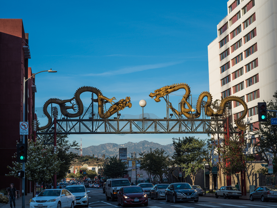 Dragons at entrance to Chinatown in Los Angeles photograph