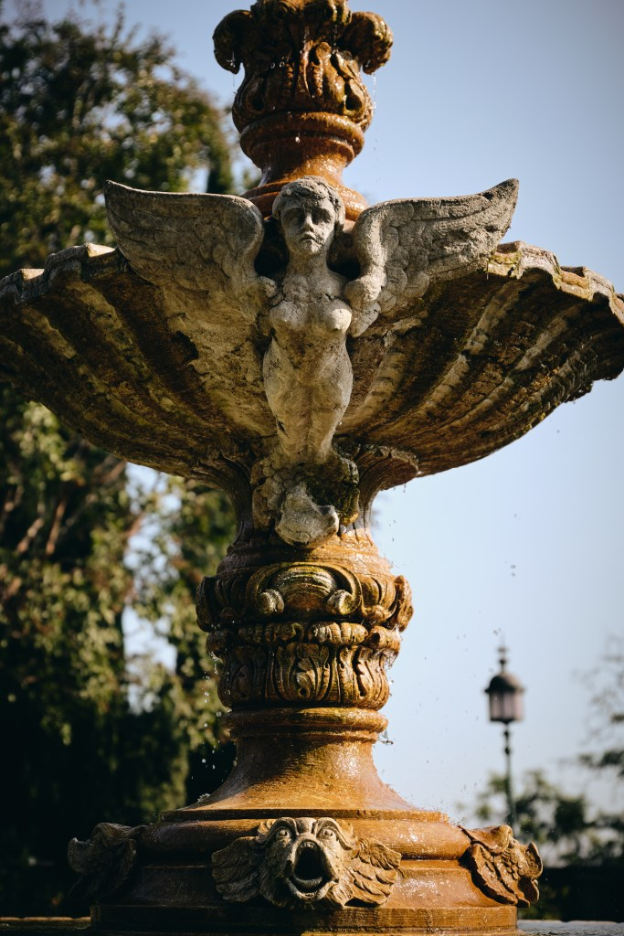 Angel Statue on fountain Greystone Mansion Beverly Hills CA