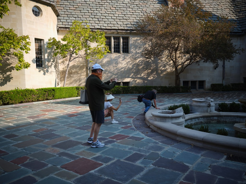 People photographing water features Greystone Mansion Beverly Hills California