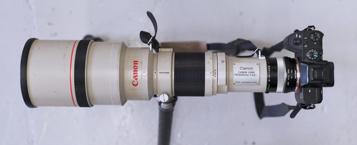 top view of Canon FD 500mm mounted on the Sony A7 II