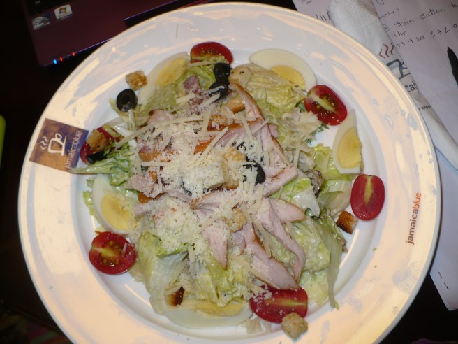 Delicious Caesar salad...and with actual caesar dressing!