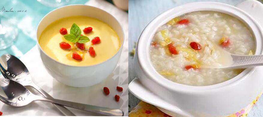 wolfberry porridge and steamed egg with wolfberry and Wolfberry porridge