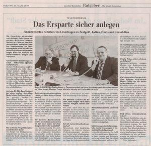 Als Experte des Bundesverbandes Deutscher Banken beim Telefonforum der Lausitzer Rundschau am 27.03.2009 - Teil 2
