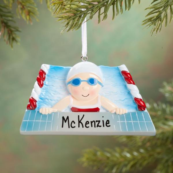 Personalized Swimmer Ornament - Tree Decorations Miles