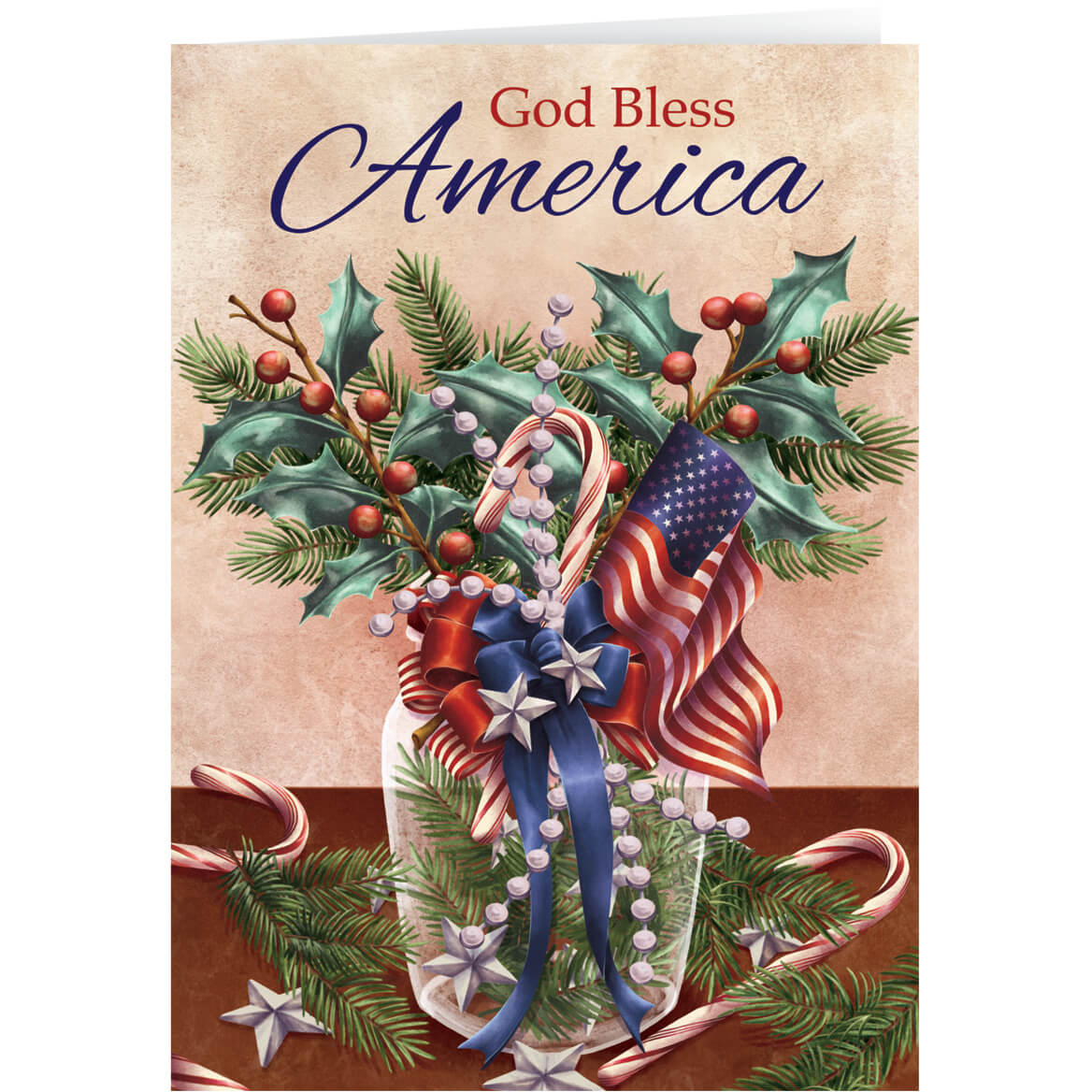 Personalized Patriot Bookmark Christmas Card Set Of 20