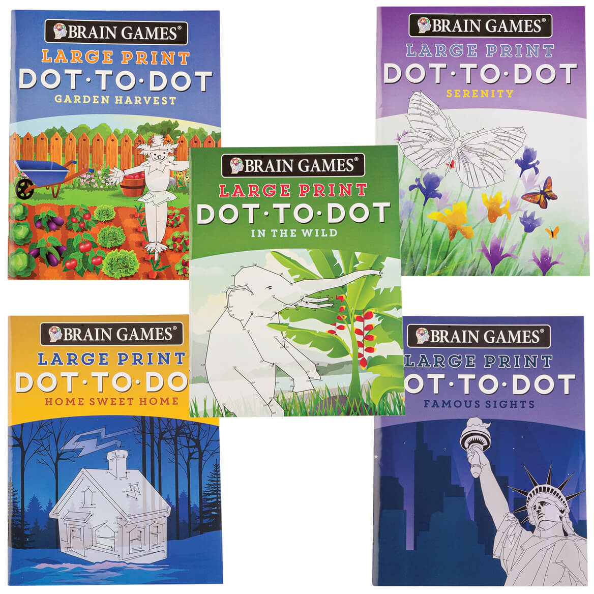 Brain Games Large Print Dot To Dot Puzzle Books Set Of 5