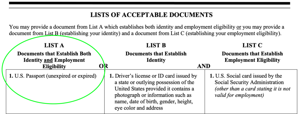 Image of lists of acceptable documents that establish both identity and employment eligibility. A U.S. passport meets both requirements.