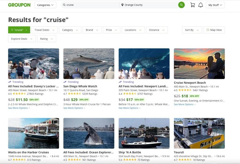 GROUPON RESULTS FOR THE WORD CRUISE