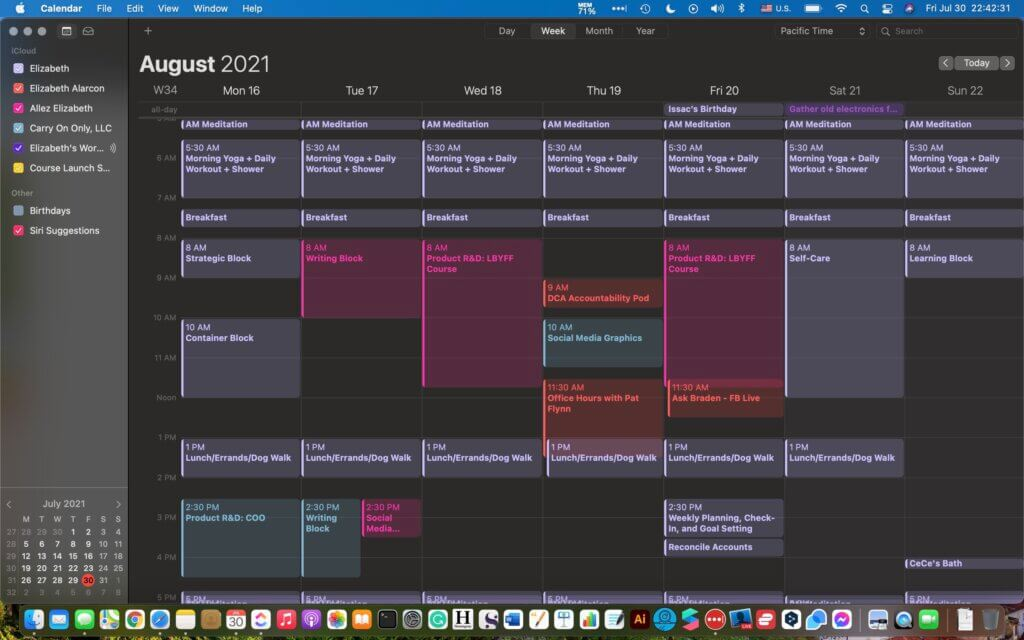 ALLEZ ELIZABETH - This is what my calendars look like overall. I get deeper in ClickUp.