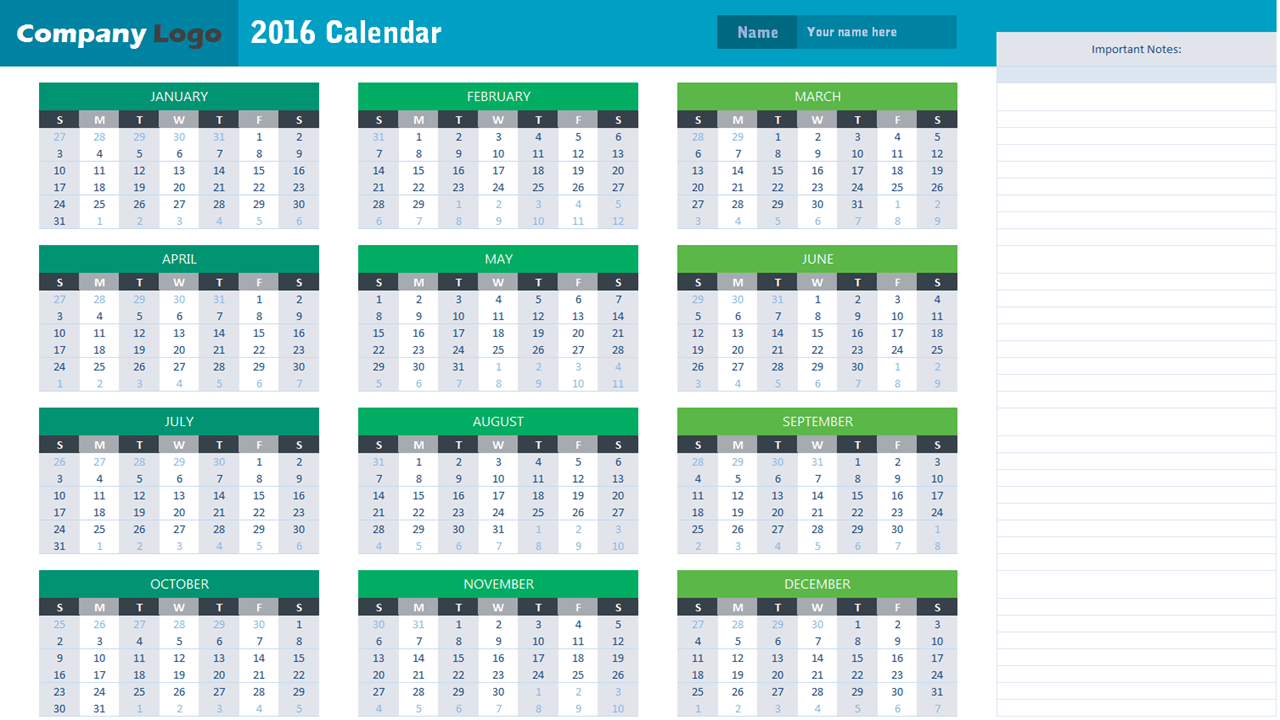 2016 Calendar Template - Analysistabs - Innovating Awesome Tools For Data  Analysis!