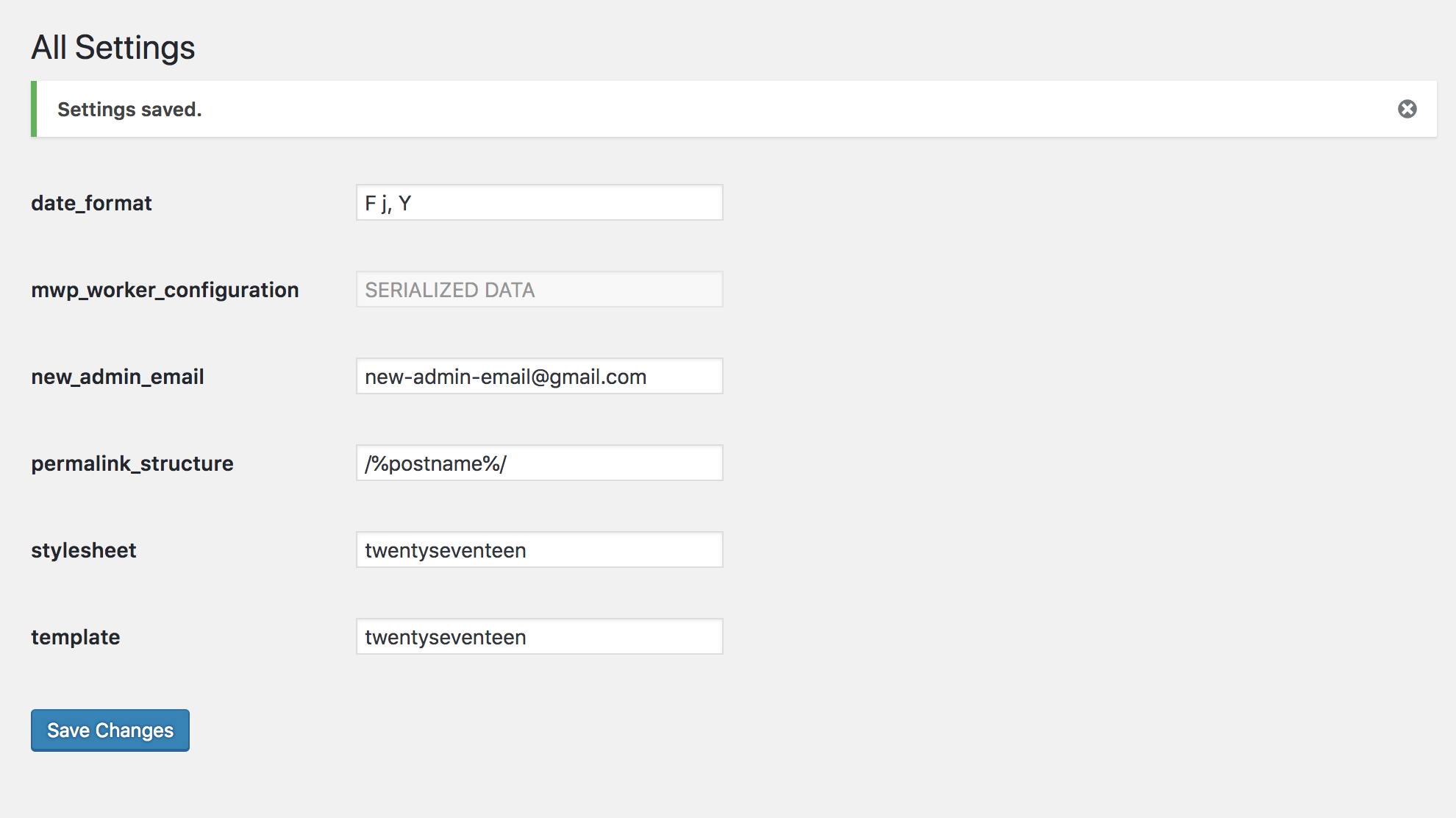 Force Update Admin Email within WordPress Backend