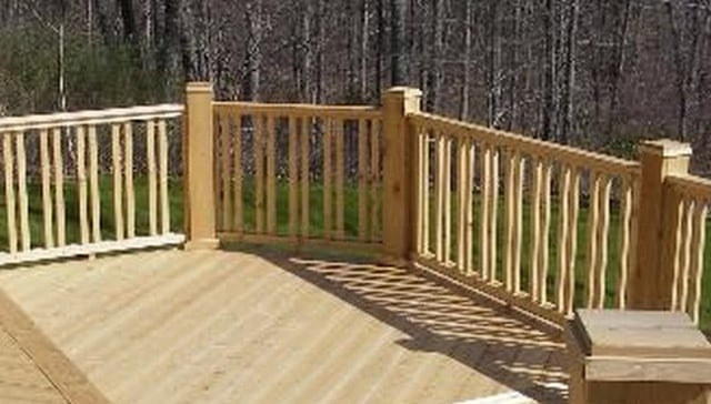100S Of Deck Railing Ideas And Designs   Wood Baluster Deck Railing   Temporary   Surface Mount   Pre Built   Side Mounted   Hardwood