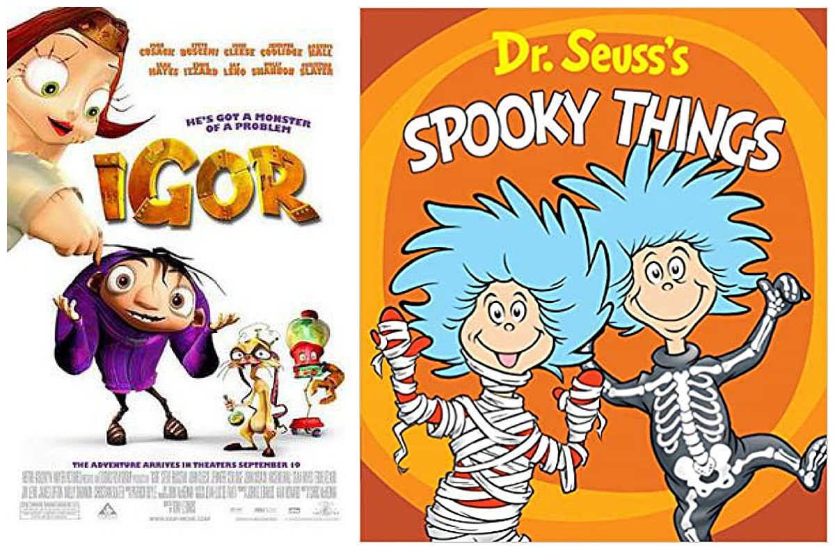 Igor movie and Dr. Seuss's Spooky Things book