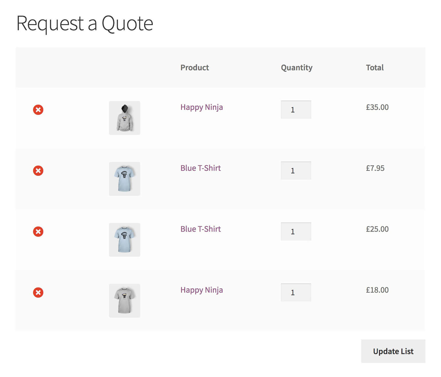 Build Product Tables with WooCommerce Add to Quote Buttons