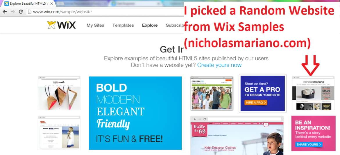 Wix Sample Website created by wix user