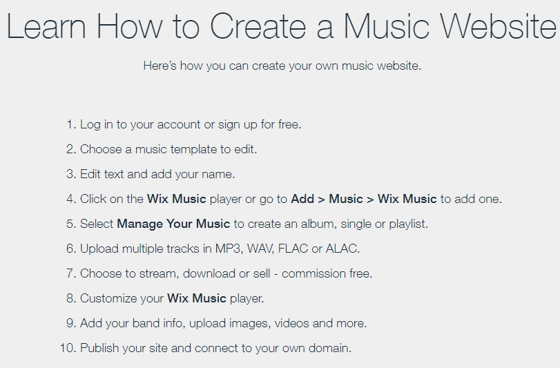 how to create a music website on Wix