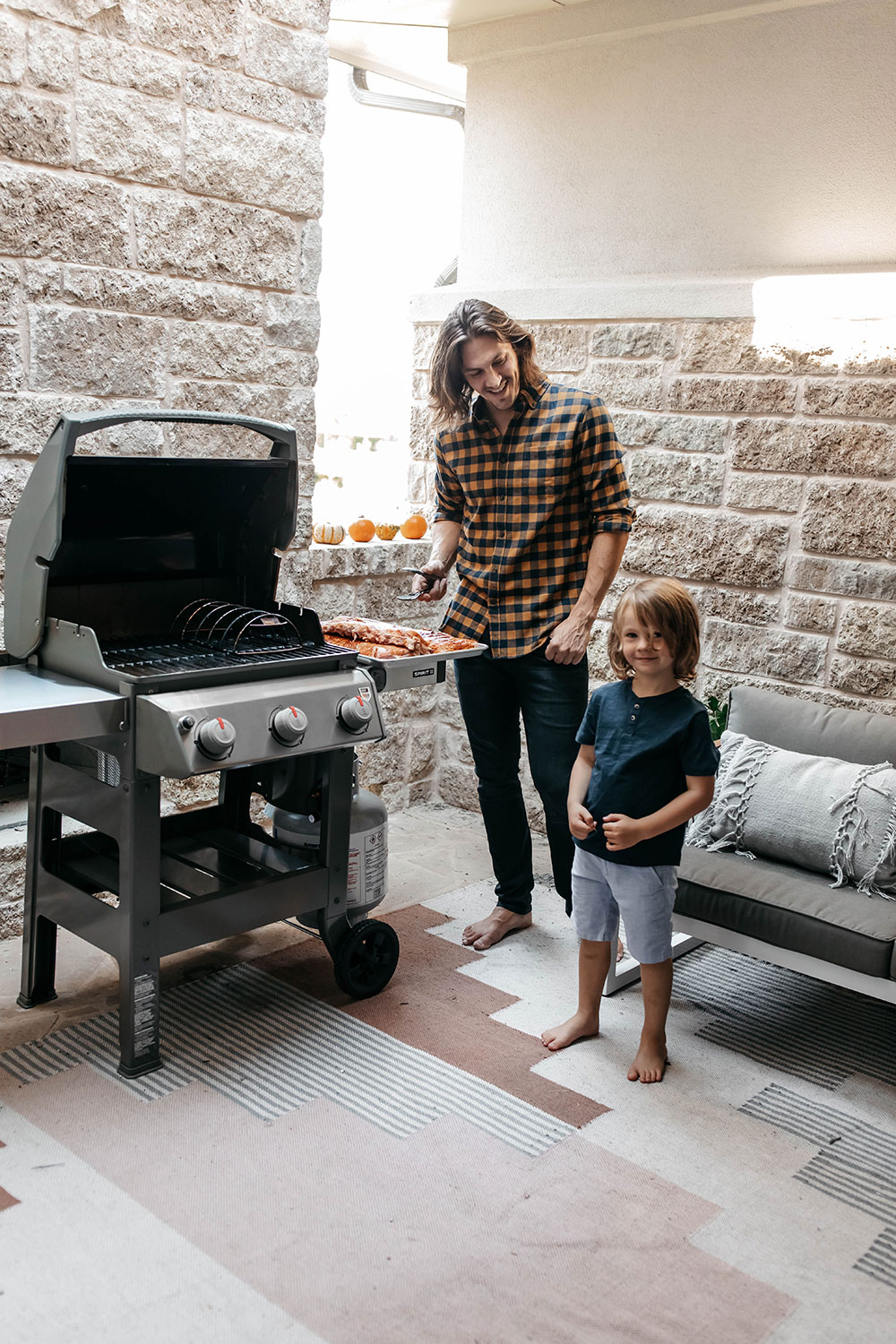 Noah and I Grilling Another Rack of Ribs