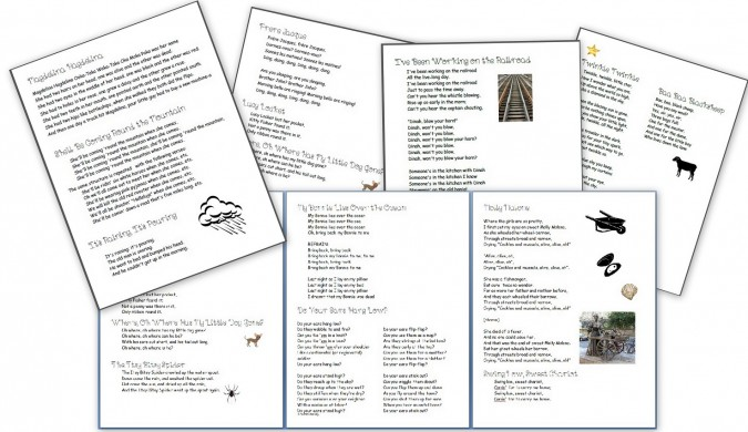 Free Printable Download: Kids Song Packet