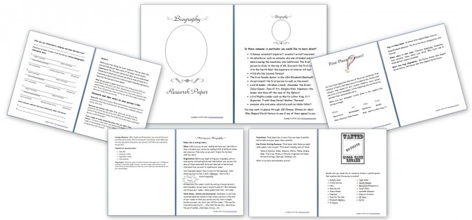 Free Biography Research Paper Resource Printable Pack