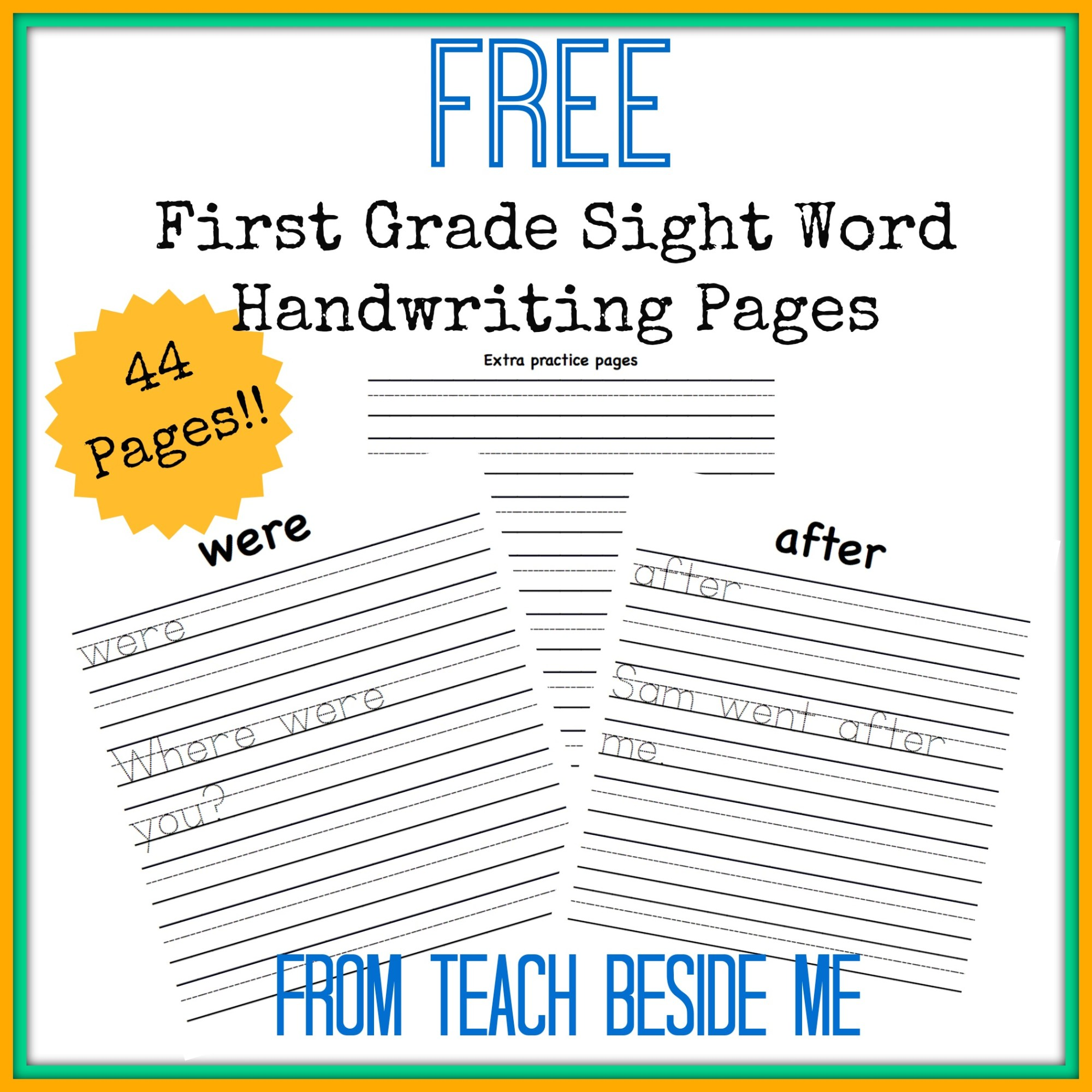 hight resolution of Free First Grade Sight Word Handwriting Pages