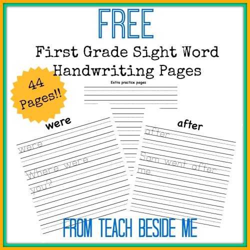small resolution of Free First Grade Sight Word Handwriting Pages