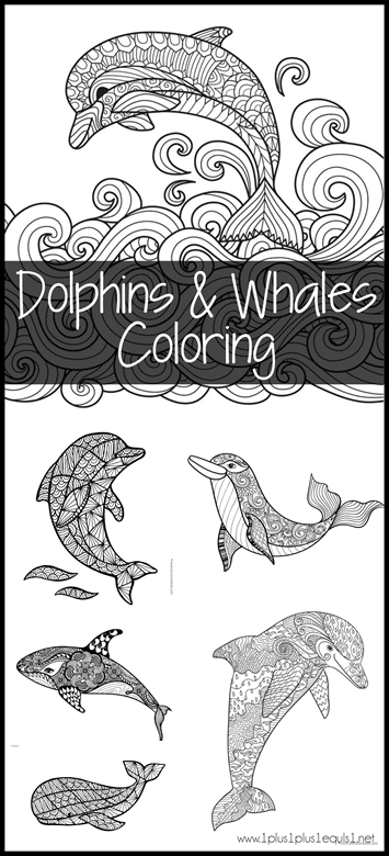 FREE Dolphin and Whale Coloring Pages